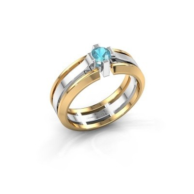Foto van Heren ring Sem 585 witgoud blauw topaas 4.7 mm