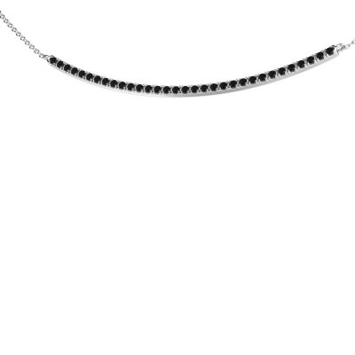 Foto van Bar ketting Simona 585 witgoud zwarte diamant 0.576 crt