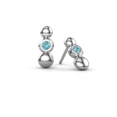 Picture of Earrings Lily 925 silver blue topaz 2.5 mm