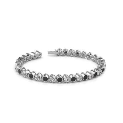 Foto van Tennisarmband Allegra 585 witgoud zwarte diamant 9.35 crt