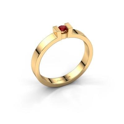 Foto van Verlovingsring Lieve 1 585 goud robijn 3 mm