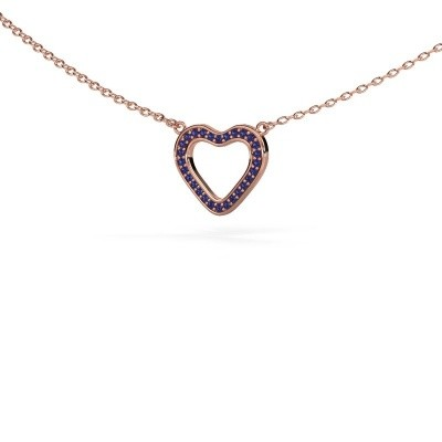 Picture of Pendant Heart 3 375 rose gold sapphire 0.8 mm