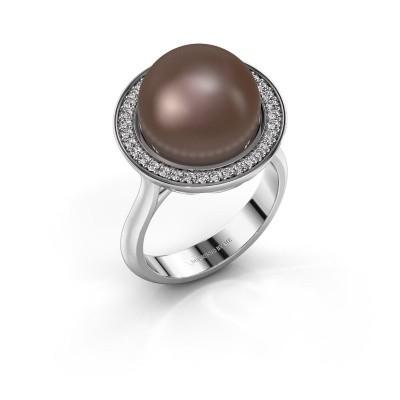 Foto van Ring Grisel 375 witgoud bruine parel 12 mm