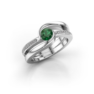 Picture of Ring Xenia 750 white gold emerald 5 mm