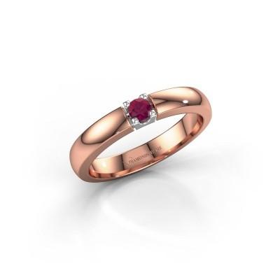 Foto van Verlovingsring Rianne 1 585 rosé goud rhodoliet 3 mm