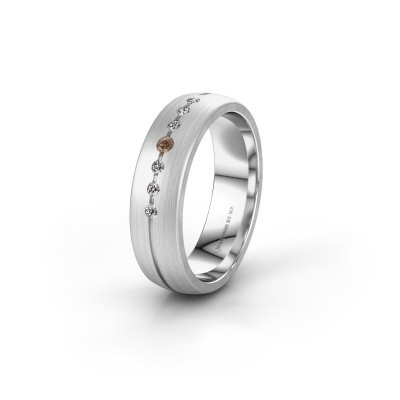 Trouwring WH0162L25A 375 witgoud bruine diamant ±5x1.7 mm