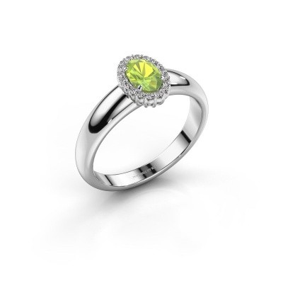 Engagement ring Tamie 925 silver peridot 6x4 mm