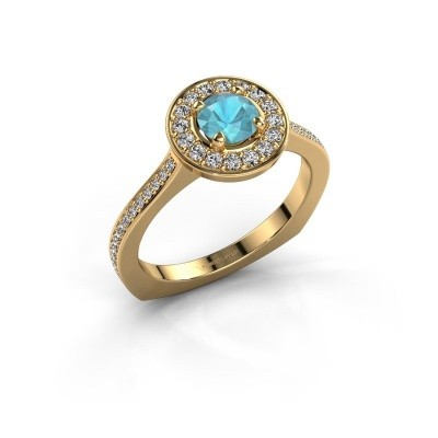 Foto van Ring Kanisha 2 585 goud blauw topaas 5 mm