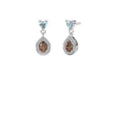 Foto van Oorhangers Susannah 950 platina bruine diamant 1.51 crt