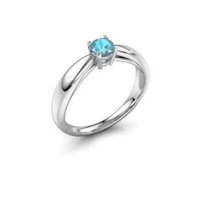 Foto van Verlovingsring Nichole 585 witgoud blauw topaas 4.2 mm