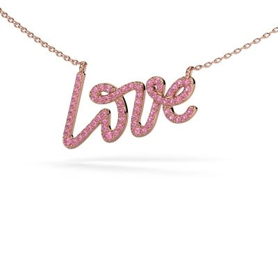 Picture of Pendant Love 375 rose gold pink sapphire 1 mm