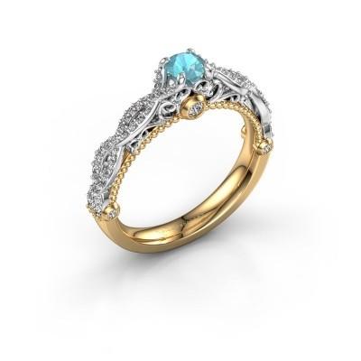 Foto van Verlovingsring Chantelle 585 goud blauw topaas 4 mm