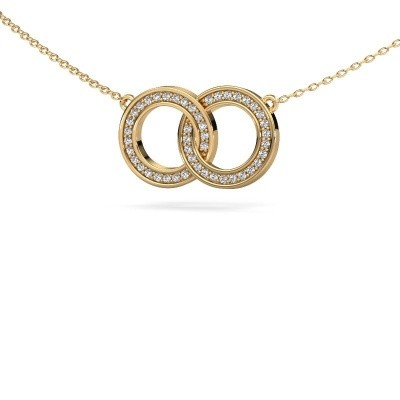 Picture of Necklace Circles 1 585 gold zirconia 1 mm