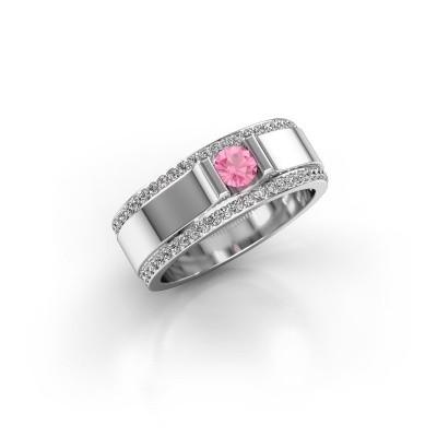 Foto van Herenring Danillo 585 witgoud roze saffier 4.2 mm