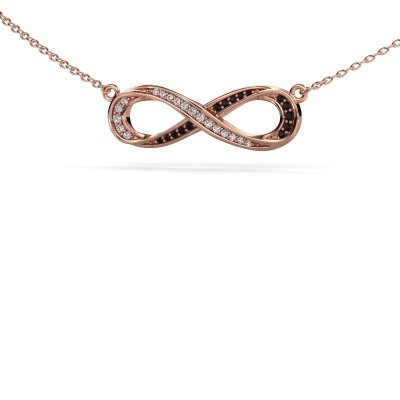 Picture of Necklace Infinity 2 375 rose gold black diamond 0.134 crt