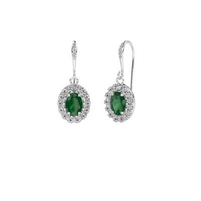 Picture of Drop earrings Jorinda 2 375 white gold emerald 7x5 mm