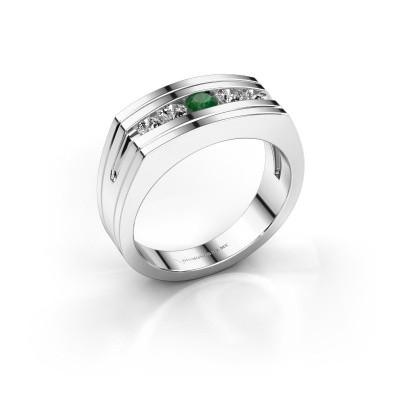 Foto van Heren ring Huub 925 zilver smaragd 3.7 mm