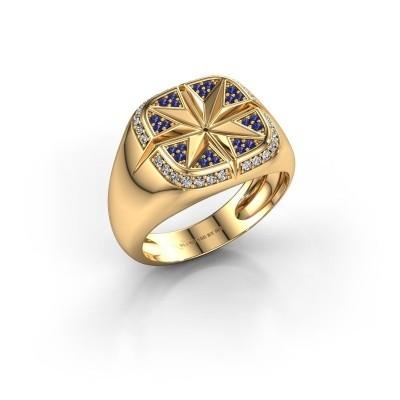 Foto van Heren ring Ravi 585 goud saffier 1 mm
