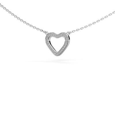 Foto van Hanger Heart 3 585 witgoud zirkonia 0.8 mm