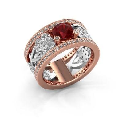 Foto van Ring Severine 585 rosé goud robijn 6 mm