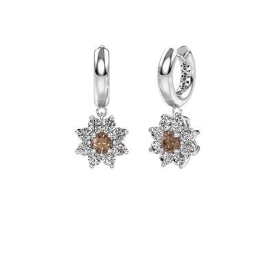 Foto van Oorhangers Geneva 1 950 platina bruine diamant 2.30 crt