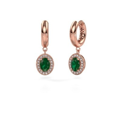 Picture of Drop earrings Annett 375 rose gold emerald 7x5 mm