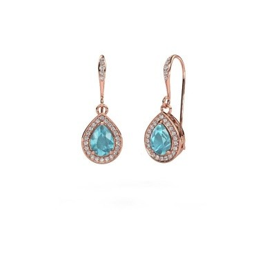 Picture of Drop earrings Beverlee 2 375 rose gold blue topaz 7x5 mm