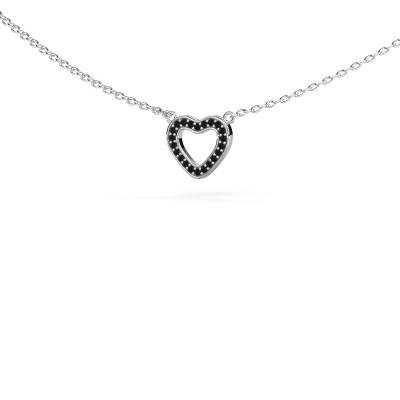 Bild von Anhänger Heart 4 585 Weissgold Schwarz Diamant 0.066 crt