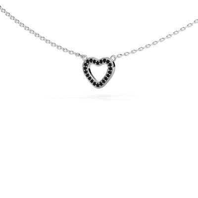 Picture of Pendant Heart 4 585 white gold black diamond 0.066 crt