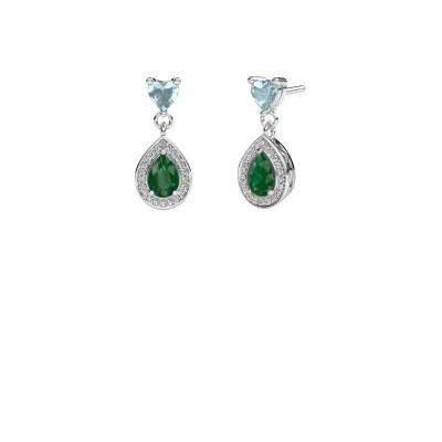 Picture of Drop earrings Susannah 950 platinum emerald 6x4 mm