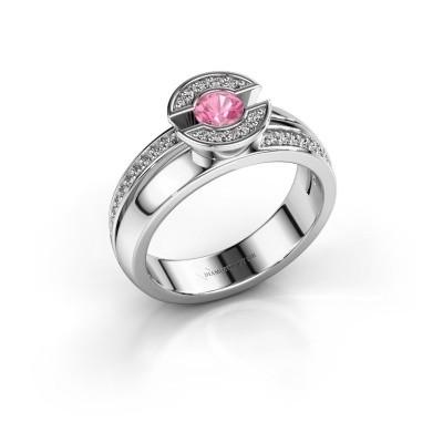 Foto van Ring Jeanet 2 925 zilver roze saffier 4 mm