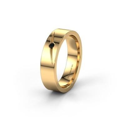 Trouwring WH0170L15A 375 goud zwarte diamant ±5x1.7 mm