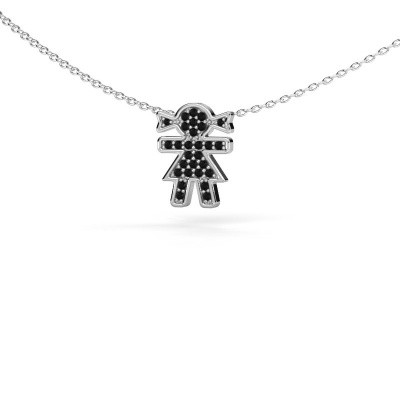 Picture of Necklace Girl 925 silver black diamond 0.162 crt