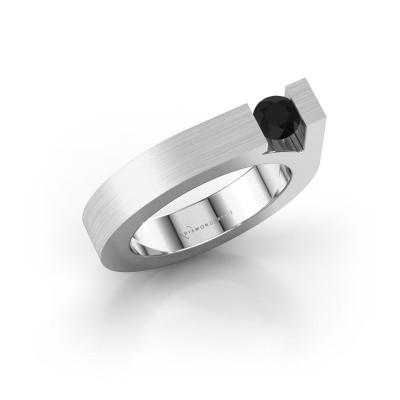 Foto van Ring Aisha 925 zilver zwarte diamant 0.36 crt