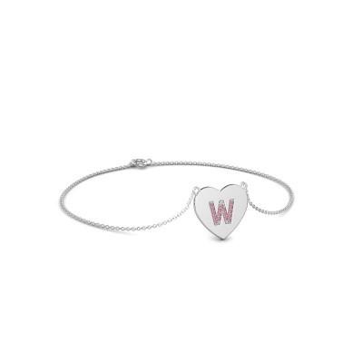 Foto van Armband Initial Heart 750 witgoud roze saffier 1 mm