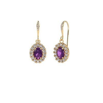 Picture of Drop earrings Jorinda 2 585 gold amethyst 7x5 mm