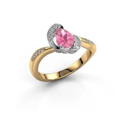 Foto van Ring Jonelle 585 goud roze saffier 7x5 mm