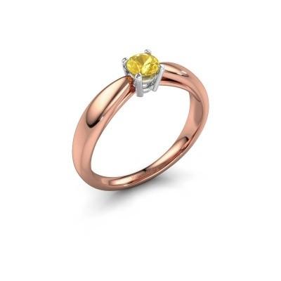 Foto van Verlovingsring Nichole 585 rosé goud gele saffier 4.2 mm