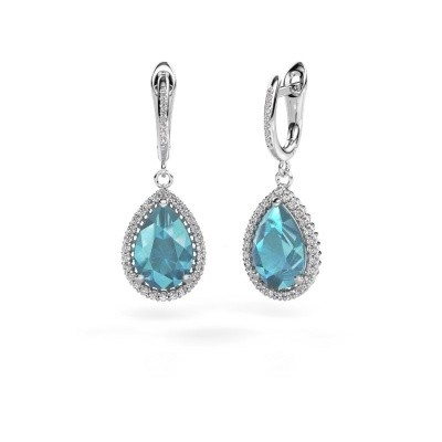 Picture of Drop earrings Hana 2 585 white gold blue topaz 12x8 mm