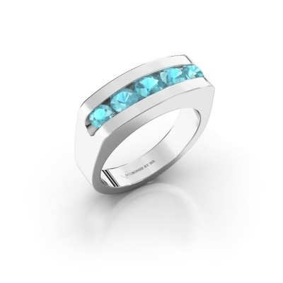 Foto van Heren ring Richard 375 witgoud blauw topaas 4 mm