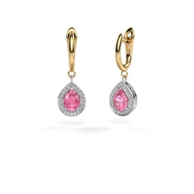 Picture of Drop earrings Ginger 1 585 white gold pink sapphire 7x5 mm