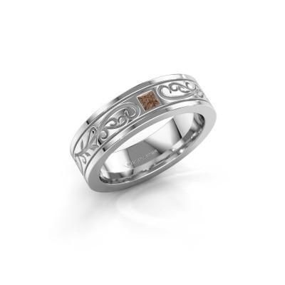 Foto van Heren ring Matijs 950 platina bruine diamant 0.17 crt