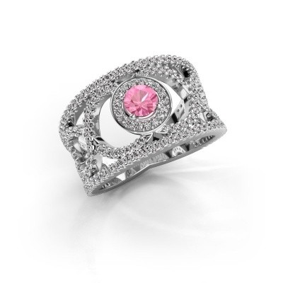 Foto van Ring Regina 585 witgoud roze saffier 4.2 mm