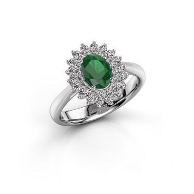 Foto van Verlovingsring Alina 1 585 witgoud smaragd 7x5 mm