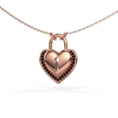 Picture of Necklace Heartlock 375 rose gold black diamond 0.138 crt
