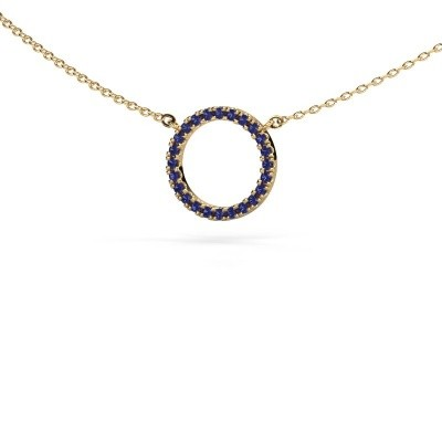 Picture of Pendant Circle 585 gold sapphire 1.2 mm