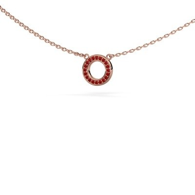 Picture of Pendant Round 2 375 rose gold ruby 0.8 mm
