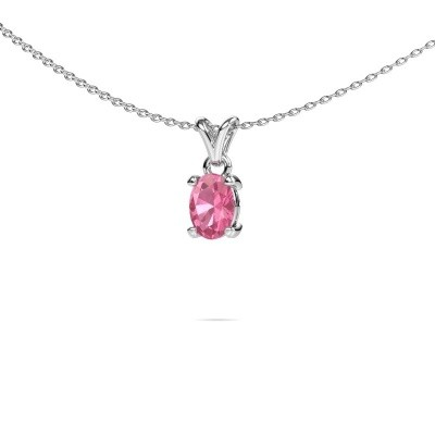 Picture of Necklace Lucy 1 950 platinum pink sapphire 7x5 mm