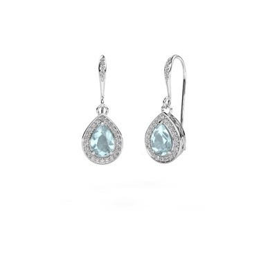 Picture of Drop earrings Beverlee 2 585 white gold aquamarine 7x5 mm