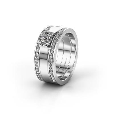 Trouwring WH2121L 585 witgoud diamant ±8x1.7 mm